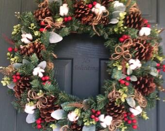 Christmas Wreath, Christmas door Wreath, Wreath Christmas, Cotton Wreath, Christmas Cotton Wreath, Country Christmas Wreath, Barn Wreath