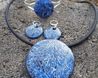 """Blue-Sheen"" Fimo jewelry set"