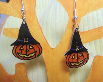 Plastic witch Hat pumpkin earring crazy halloween collection