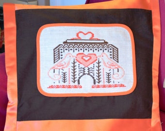 Embroidered cross-stitch Cage Artdeco coral satin pillow cover
