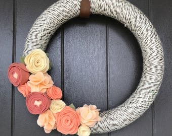 Felt Flower Wreath- Yarn- Modern- One Side