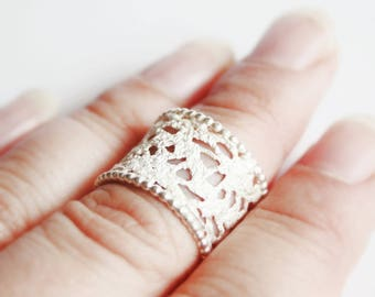 Ring sterling silver, Gr. 52 / 53, lace, beads, dreamy boho style