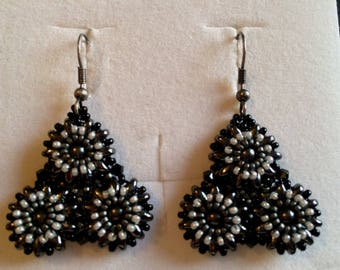 Triflora black and grey earrings