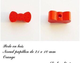 Wood 21 x 10 mm bead, Pearl flat bow tie: Orange