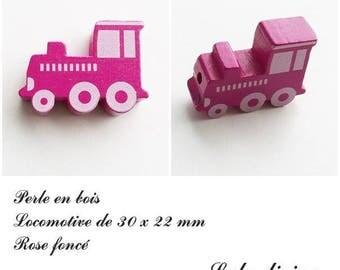 30 x 22 mm wood bead, Pearl flat Train / Locomotive: dark pink