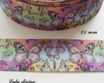 Grosgrain Ribbon background multicolored Butterfly 25 mm sold by 50 cm
