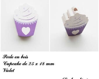 25 x 18 mm wooden bead, Pearl flat Cupcake: Violet