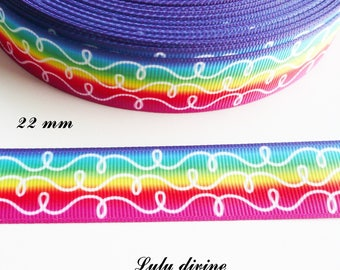 Ribbon grosgrain bow in sky lines white looped 22 mm sold by 50 cm