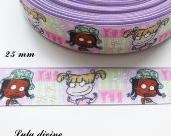 Ribbon grosgrain pink & green 25 mm Rugrats sold by 50 cm