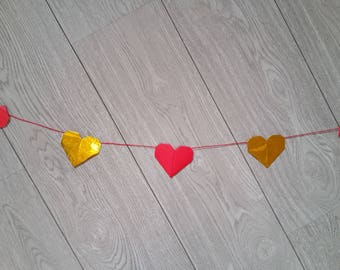 Origami hearts wall Garland