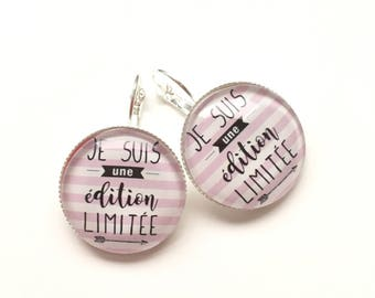 "Earrings original & unique ""I'm a 'custom Limited Edition, derision, humour, heart, bow, gray, pink"