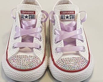 Custom converse, child size 4, irridescent glitter, crystal detail and satin ribbon