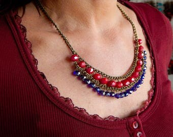 The glass beads and antique Bronze ethnic necklace