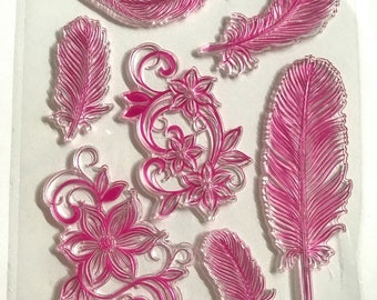 Silicone - clear Stamp - themed feather pads / arabesque / flowers in transparent silicone