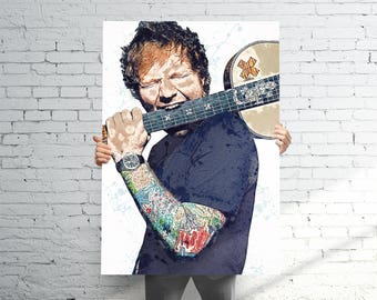Ed Sheeran Poster | Watercolor Abstract Paint Splash | Home Decor Wall Art | 11x14 - 16x20 - 24x36 - 36x48 | FREE SHIPPING