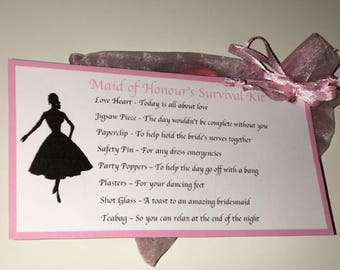 Maid of honour and bridesmaid survival kits