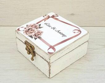 Rustic wedding ring box Ring bearer box Wedding box roses Personalized ring box Custom holder Wooden ring box Engagement box Proposal box