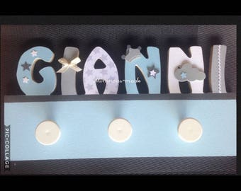 Name personalized integrated GIANNI entirely hand made wooden coat rack