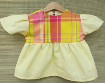 Yellow baby and madras tunic pink 2 years