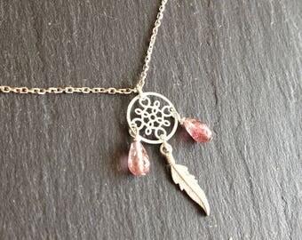 Pink fine dream catcher feather tourmaline necklace