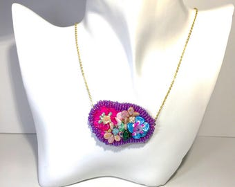 Bead  embroidered chain necklace Japanese Czech beads flower sanctuary kimono