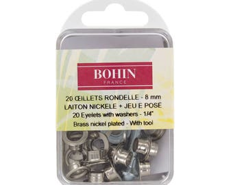 Eyelet rondelle 8mm silver + j pins
