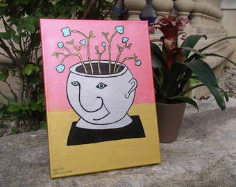 Painting flower pot shape head