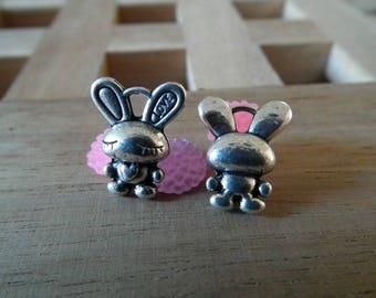 X 10 PCs 16mm silver rabbit charms