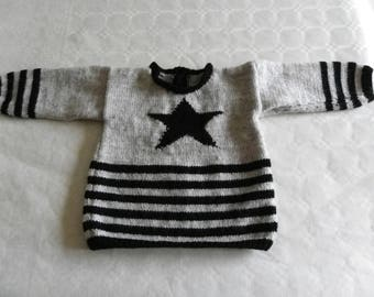 grey and black stripes and star 18 month boy sweater