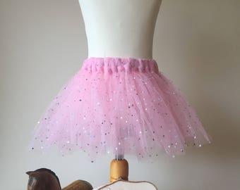 Handmade pink sparkly tutu skirt, first birthday outfit, girl birthday tutu, magical fairy tutu princess tutu, dance tutu, baby pink tutu