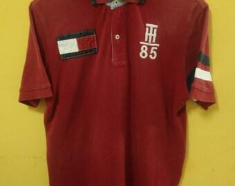 Mega Sale!!!Vintage Tommy Hilfiger T-Shirt Polo Big Logo / Spell Out / Number 8