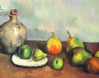ORIGINAL design, durable and WASHABLE PLACEMAT - Paul Cézanne / pitcher and fruit - classic.