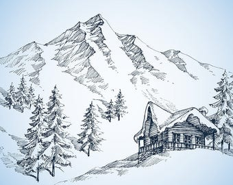 PLACEMAT semi-rigid ORIGINAL AESTHETIC WASHABLE and durable - drawing - cottage in the mountains.
