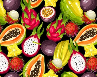 SEMI-rigid PLACEMAT, ORIGINAL design, WASHABLE and durable - 4 Exotic Fruits.
