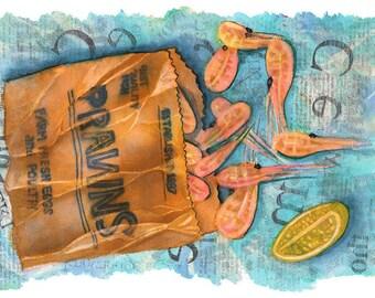ORIGINAL design, durable and WASHABLE PLACEMAT - gourmet - shrimp - classic Illustration.