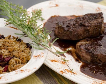 Seared Venison with Red Wine Chocolate Sauce and Wild Rice & Cranberries