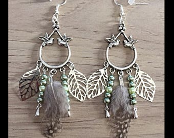 Natural feather earrings and glass beads-