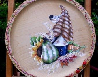 "Solid wood plate decor ""Cornucopia"" painting acrylic"