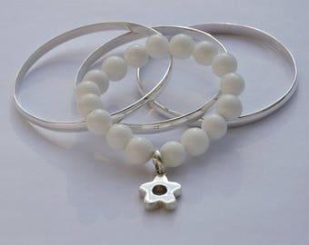 white jade and 950 Sterling Silver Flower bracelet