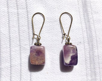 Dangling brass and Amethyst earrings