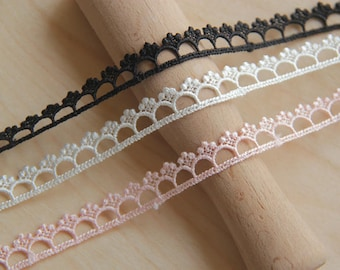 """Victorian Venise Lace Trims Embroidered Eyelet Lace Trims Guipure Lace  1cm 0.4"""" Broderie Anglaise Black Off-white Pink x2yrd LXGB81"""