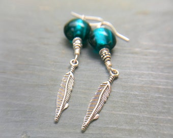 Silver Plated Feather Earrings, Teal Glass Foil Dangle Earrings