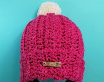 Adults | PINK | Unisex Crocheted Bobble Hat | With Cream Pom Pom