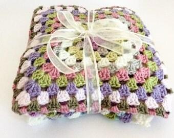 Crochet baby blanket/ crochet / granny square blanket/ pushchair blanket/ stroller blanket/ crib blanket/ baby shower gift/ nursery gift