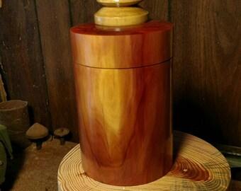Round cedar box with holly finial