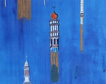 Elevation-original acrylic painting on wood: Church, minaret, synagogue, Basilica Cathedral