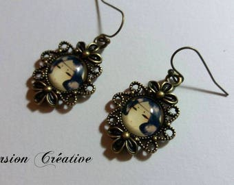 Bronze earrings vintage style cabochons 12 mm on media abnormal