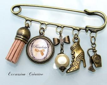 """PIN 7 cm """"Boudoir Retro Vintage bow"""""""