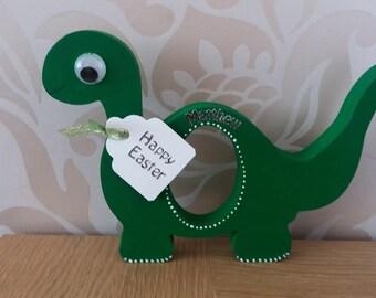 wooden dinosaur kinder egg holder