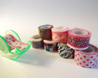 Set of 8 mini masking tape and dispenser - Scrapbook - embellishment (set D)